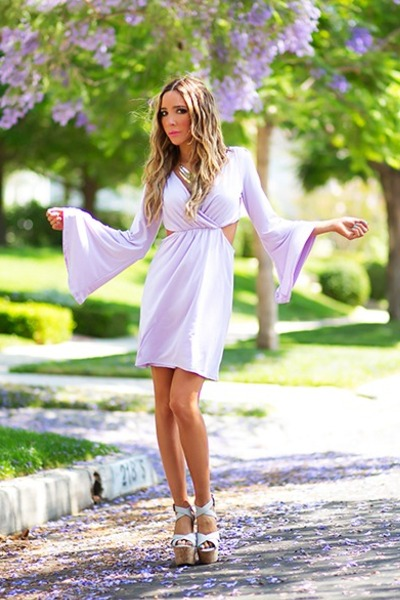 light purple Haute dress - gold HAUTE & REBELLIOUS necklace