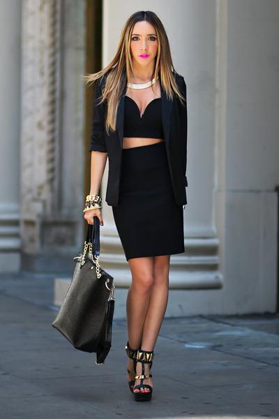 HAUTE & REBELLIOUS blazer - HAUTE & REBELLIOUS bag - HAUTE & REBELLIOUS skirt