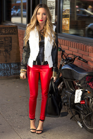 red HAUTE &amp; REBELLIOUS leggings - white HAUTE &amp; REBELLIOUS jacket