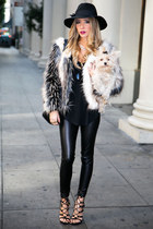 black Celine bag - ivory faux fur HAUTE & REBELLIOUS jacket