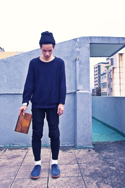 blue A ROOM MODEL shoes - brown asoscom purse - navy American Apparel jumper