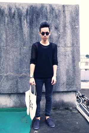 gray Zara shoes - white BRITISH MUSEUM bag - black asoscom sunglasses