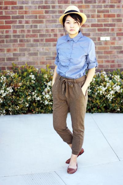 cream hat - violet shirt - brown pants - crimson flats