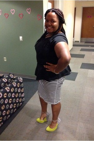 black peplum blouse - chartreuse tribal print wedges - black Old Navy skirt