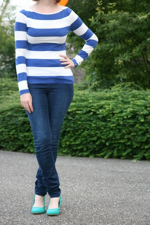 blue superstretch H & M jeans - blue striped shirt H & M shirt