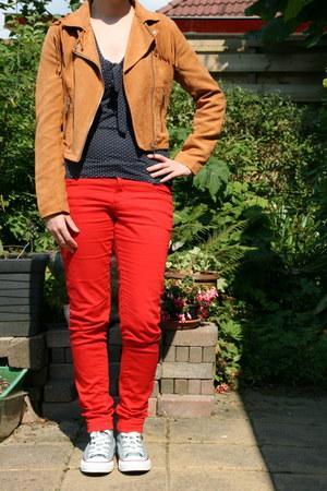 red red pants C & A pants - tawny cowboy jacket H & M jacket