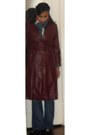 Crimson-leather-trench-vintage-coat-navy-blue-denim-lucky-brand-jeans