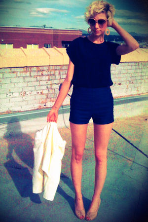 blue Urban Outfitters shorts - black thrifted blouse - white Urban Outfitters bl