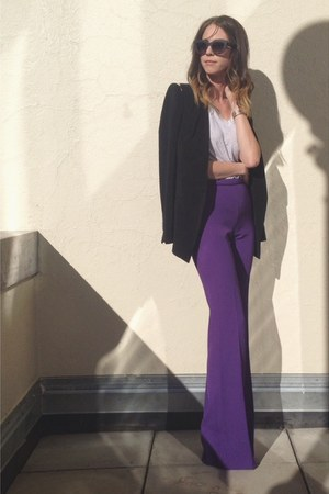 purple Rachel Zoe pants - black structured Zara blazer