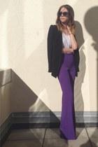 purple Rachel Zoe pants - black structured Zara blazer