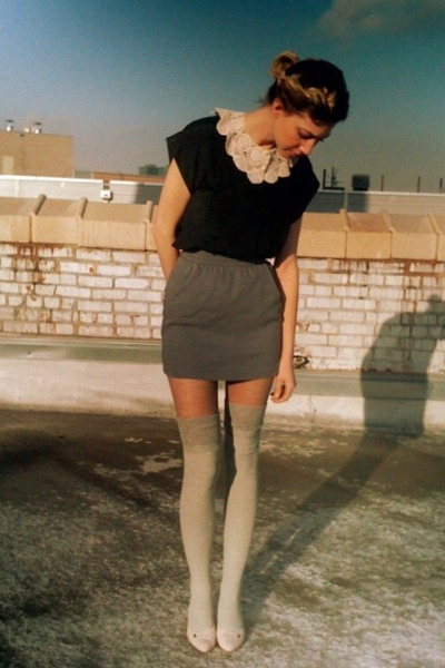 heather gray thigh high Target socks - gray mini Forever21 skirt - light pink ki