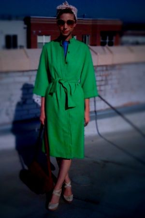 green thrifted jacket - blue vintage dress - beige seychelles shoes - orange thr