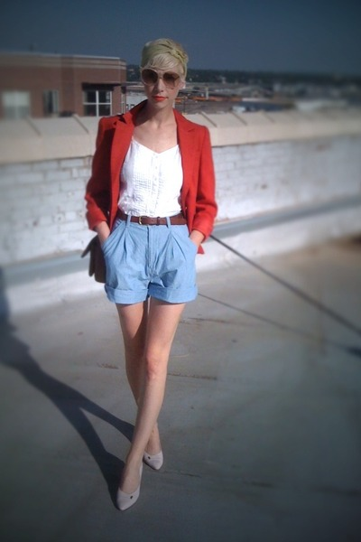 red thrifted blazer - blue thrifted shorts - white thrifted top - pink thrifted 