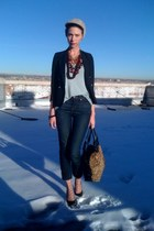 navy high waist Urban Outfitters jeans - black shrunken thrifted blazer - polka