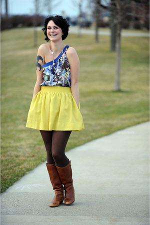 yellow Forever 21 skirt - blue Forever 21 top - brown Steve Madden boots