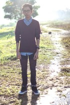 Levis 595 jeans - Topman shirt - H&M jumper - Vans halfcab sneakers