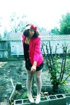 xhiliration dress - hot pink blazer - cream fishnets tights - beige peep toe wed