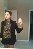 black Norma Kamali jacket - brown XXI shirt - black shorts - silver necklace