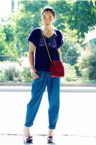 turquoise blue American Appareal pants - maroon Miu Miu heels