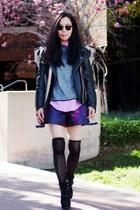 MMM with H&M jacket - Dolce Vita boots - asos shorts - Topshop sweatshirt