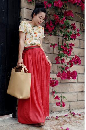 nude Zara bag - red Zara skirt - chartreuse Zara top