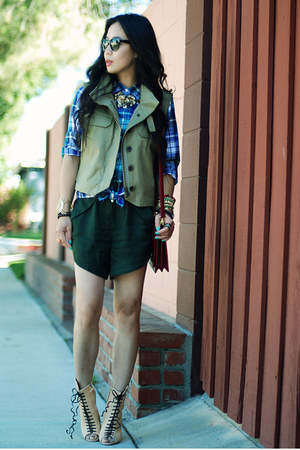 nude Giuseppe Zanotti boots - olive green Jcrew jacket - Jcrew shirt