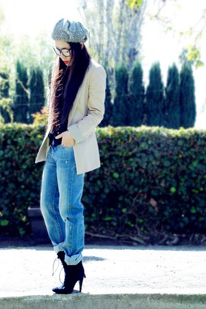 lace up Alexandera Neel boots - Levis jeans - Zara hat - Zara blazer