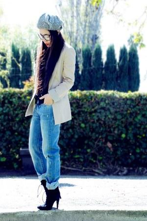Zara blazer - lace up Alexandera Neel boots - Levis jeans - Zara hat