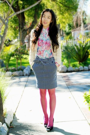 vintage skirt - cream Zara blazer - pink free people tights - vintage bag