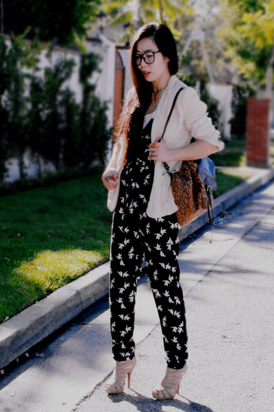 animal print backpack bag - Zara blazer - ASH sandals - H&M jumper