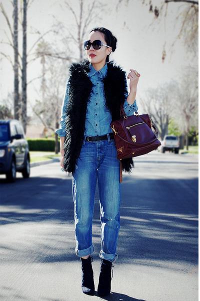 faux fur INCinternational vest - lace up Alexandera Neel boots