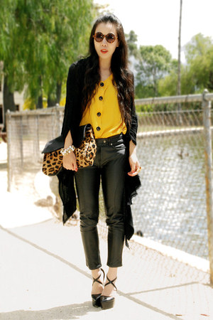 yellow vintage top - leopard print asos bag - leopard print asos sunglasses