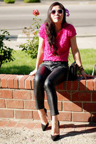 hot pink embroidered Zara top - beige H&M sunglasses - black Zara heels