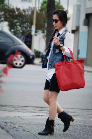 black H&amp;M boots - red Zara bag - white Zara blouse - denim I heart ronson vest -