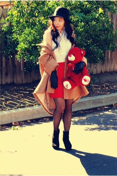 red Zara skirt - wedges Bamboo boots - camel H&M coat