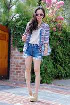 sky blue vintage sweater - sky blue Be & D bag - sky blue Levis shorts - eggshel