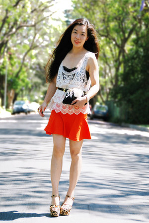 carrot orange Zara shirt - black Zara belt - ivory crochet Zara top - Steve Madd