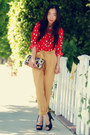 Red-polka-dot-h-m-blouse-light-yellow-urban-outfitters-pants-black-dolce-vit