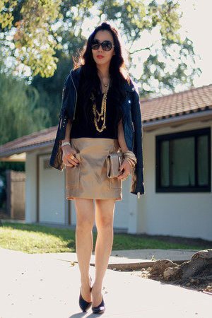 gold Zara skirt - black leather River Island jacket - Michael Michael Kors bag