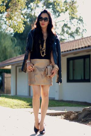 gold Zara skirt - black leather River Island jacket - Michael Michael Kors bag