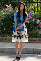 ivory vintage dress - blue clutch Marc by Marc Jacobs bag - light blue denim Zar