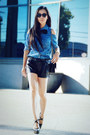 Sky-blue-denim-forever21-shirt-black-faux-leather-zara-shorts