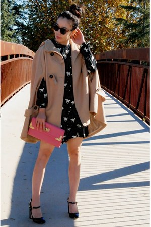 modcloth dress - patent leather Miu Miu shoes - cape asos coat