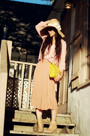peach asos skirt - peach acne boots - Forever 21 hat - yellow asos bag