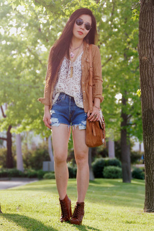 eggshell lace H&amp;M top - tawny Jeffrey Campbell boots - bronze H&amp;M shirt