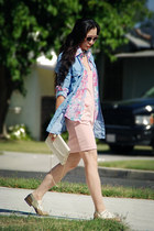 peach Zara dress - floral print vintage blouse - sky blue denim shirt Zara blous