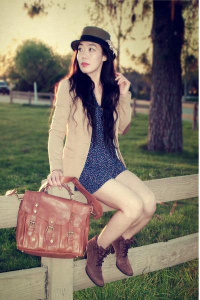 vintage boots - Urban Outfitters hat - H&M blazer - warehouse bag - Zara romper