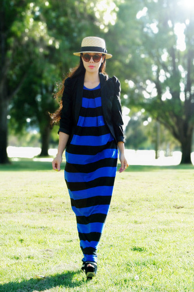 blue striped asos dress - H&M hat - black H&M blazer - H&M sunglasses - Aldo hee