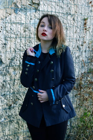 black blue collar jacket - red mac accessories