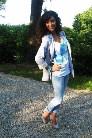 Zara shirt - silver new look blazer - blue Zara pants - gray H&M shoes - accesso